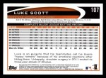 2012 Topps #107  Luke Scott  Back Thumbnail