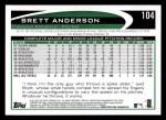 2012 Topps #104  Brett Anderson  Back Thumbnail