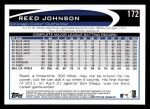 2012 Topps #172  Reed Johnson  Back Thumbnail