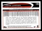 2012 Topps #186  John Lannan  Back Thumbnail