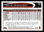 2012 Topps #101  David Hernandez  Back Thumbnail