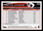 2012 Topps #232   -  Mariano Rivera / Johan Santana / Felix Hernandez Active AL ERA Leaders Back Thumbnail