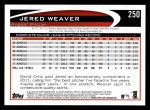 2012 Topps #250  Jered Weaver  Back Thumbnail