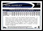 2012 Topps #312  Nick Hundley  Back Thumbnail