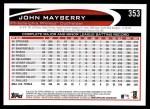 2012 Topps #353  John Mayberry  Back Thumbnail