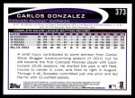2012 Topps #373  Carlos Gonzalez  Back Thumbnail