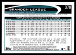 2012 Topps #378  Brandon League  Back Thumbnail