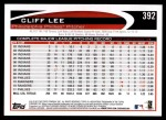 2012 Topps #392  Cliff Lee  Back Thumbnail