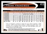 2012 Topps #413  Frank Francisco  Back Thumbnail