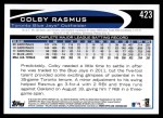 2012 Topps #423  Colby Rasmus  Back Thumbnail