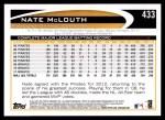 2012 Topps #433  Nate McLouth  Back Thumbnail