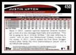 2012 Topps #450  Justin Upton  Back Thumbnail