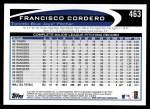 2012 Topps #463  Francisco Cordero  Back Thumbnail