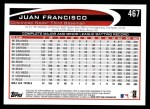 2012 Topps #467  Juan Francisco  Back Thumbnail
