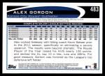 2012 Topps #483  Alex Gordon  Back Thumbnail