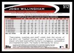 2012 Topps #512  Josh Willingham  Back Thumbnail