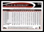 2012 Topps #515  Willie Bloomquist  Back Thumbnail