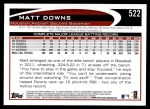 2012 Topps #522  Matt Downs  Back Thumbnail
