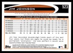 2012 Topps #523  Jim Johnson  Back Thumbnail