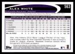 2012 Topps #563  Alex White  Back Thumbnail