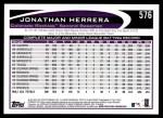 2012 Topps #576  Jonathan Herrera  Back Thumbnail