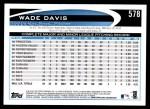 2012 Topps #578  Wade Davis  Back Thumbnail
