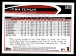 2012 Topps #583  Josh Tomlin  Back Thumbnail