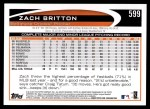 2012 Topps #599  Zach Britton  Back Thumbnail