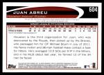 2012 Topps #604  Juan Abreu  Back Thumbnail