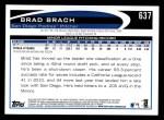 2012 Topps #637  Brad Brach  Back Thumbnail
