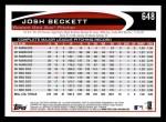 2012 Topps #648  Josh Beckett  Back Thumbnail