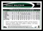 2012 Topps #652  Grant Balfour  Back Thumbnail