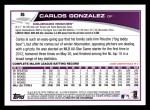 2013 Topps #5  Carlos Gonzalez   Back Thumbnail