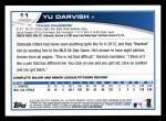 2013 Topps #11  Yu Darvish   Back Thumbnail