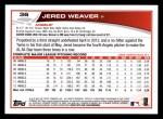 2013 Topps #36  Jered Weaver   Back Thumbnail