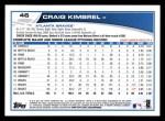 2013 Topps #46  Craig Kimbrel   Back Thumbnail
