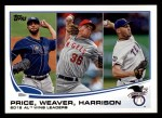 2013 Topps #95   -  Matt Harrison / David Price / Jered Weaver  AL Wins Leaders Front Thumbnail