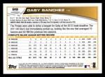 2013 Topps #98  Gaby Sanchez   Back Thumbnail