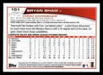 2013 Topps #101  Bryan Shaw   Back Thumbnail
