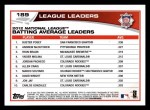 2013 Topps #189   -  Buster Posey / Andrew McCutchen / Ryan Braun  NL Batting Average Leaders Back Thumbnail