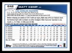 2013 Topps #242  Matt Kemp   Back Thumbnail