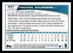 2013 Topps #297  Michael Saunders   Back Thumbnail