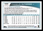2013 Topps #340  Franklin Gutierrez  Back Thumbnail