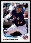 2013 Topps #346  Aaron Hicks  Front Thumbnail