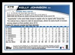 2013 Topps #479  Kelly Johnson  Back Thumbnail
