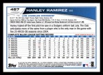 2013 Topps #487  Hanley Ramirez  Back Thumbnail