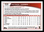 2013 Topps #502  Patrick Corbin  Back Thumbnail