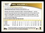 2013 Topps #537  Neil Walker  Back Thumbnail