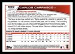 2013 Topps #599  Carlos Carrasco  Back Thumbnail