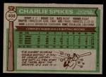 1976 Topps #408  Charlie Spikes  Back Thumbnail